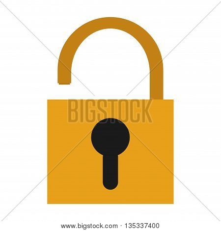 yellow safety lock with black keyhole on front vector illustration