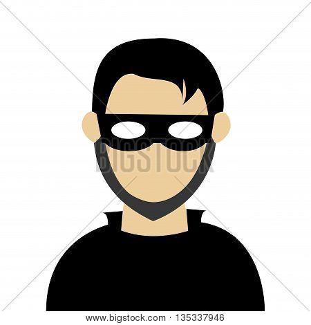 man with black shirt wearing black mask vector illustration