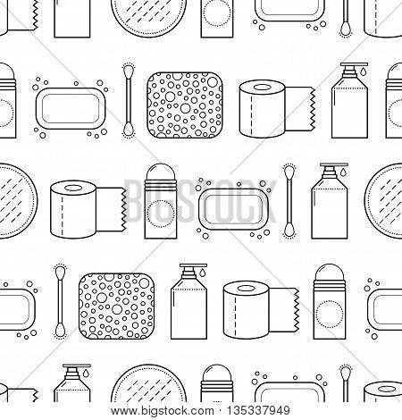 Feminine hygiene. Seamless pattern with cosmetics. Vector illustration
