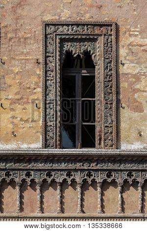 Late Gothic and Venetian style terracotta window decorations of the house of the merchant Giovan Boniforte from Concorezzo built in 1455 in Mantua Italy