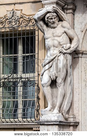 Statue Of Hercules At The Palazzo Vescovile