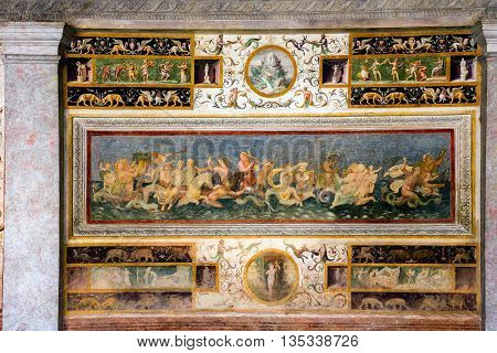 Wall Frescoes Of Palazzo Te In Mantua