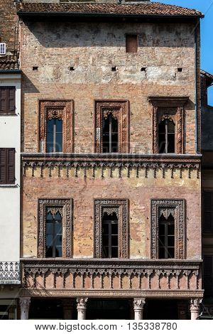 Late Gothic and Venetian style terracotta decorations of the house of the merchant Giovan Boniforte from Concorezzo built in 1455 in Mantua Italy