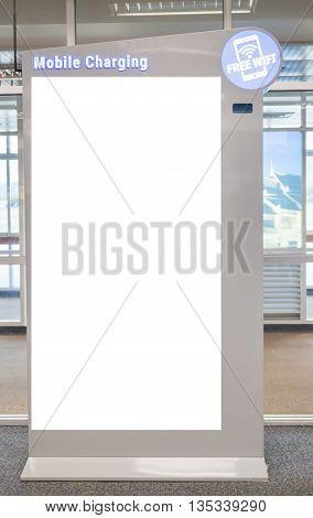 Empty digital monitor in office stock photo
