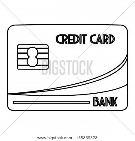 simple black line credit card with letters vector illustration