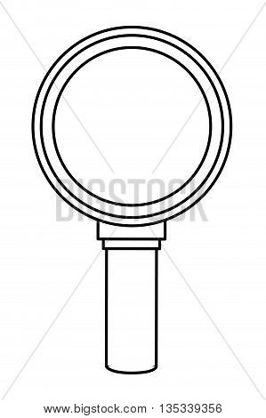 simple black line magnifying glass vector illustration