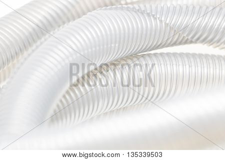 The White corrugated pipe isolate white Background