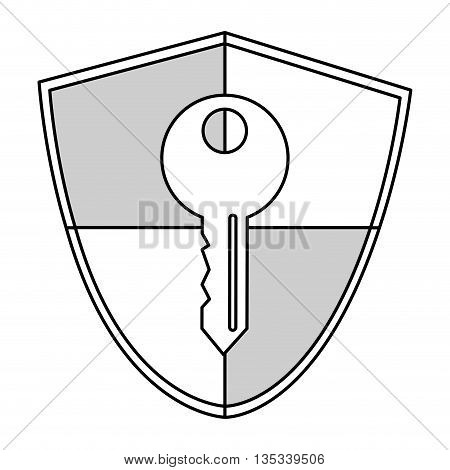 simple line shield with key in the center vector illustration