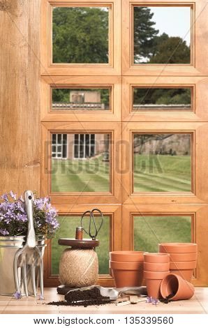 The potting shed with window overlooking garden