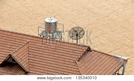 Water Tank Made of Stainless Steel on Top of The Roof.