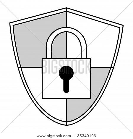 shield with safety lock in the center vector illustration