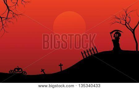Silhouette of warlock and pumpkins Halloween vector art