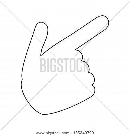 simple black line hand pointing with index finger vector illustration
