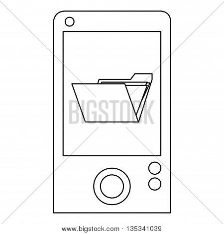 simple black line cellphone with open folder on screen vector illustration
