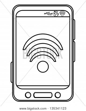 simple black line cellphone with three buttons in the bottom and three buttons to the side with wifi icon on the screen vector illustration