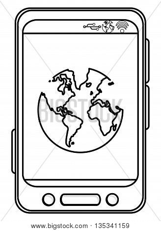 simple black line cellphone with three buttons in the bottom and three buttons to the side with earth globe on the screen vector illustration