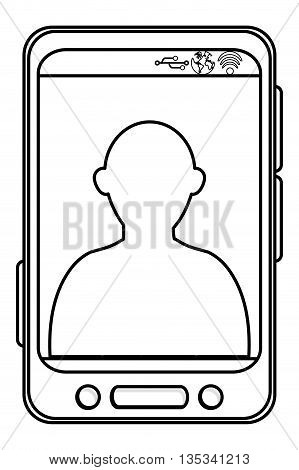 simple black line cellphone with three buttons in the bottom and three buttons to the side and person icon on screen vector illustration