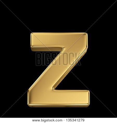 Golden shining metallic 3D symbol letter z - isolated on black