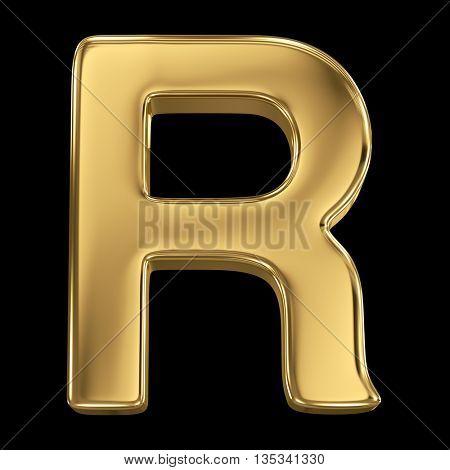 Golden shining metallic 3D symbol letter R - isolated on black