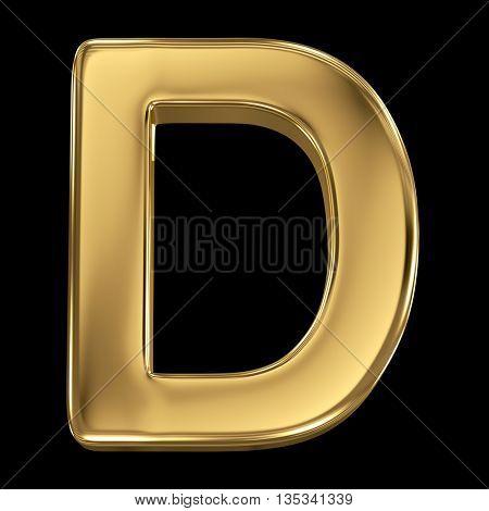 Golden shining metallic 3D symbol letter D - isolated on black