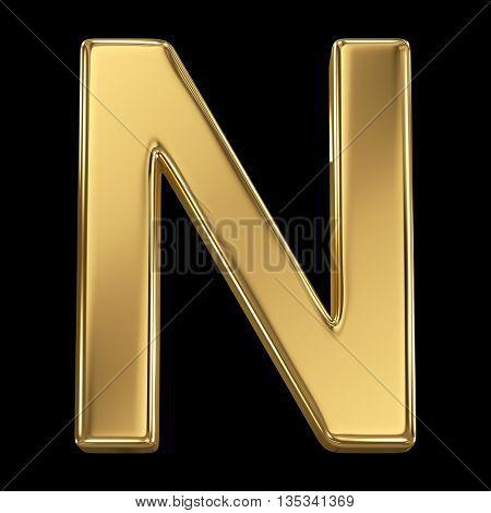 Golden shining metallic 3D symbol letter N - isolated on black