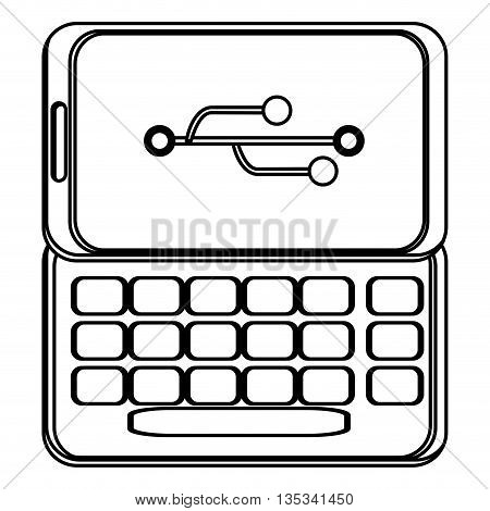slide cellphone with buttons on the bottom and usb icon on screen vector illustration