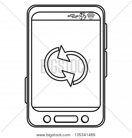 simple black line cellphone with three buttons in the bottom and three buttons to the side and refresh icon on screen vector illustration