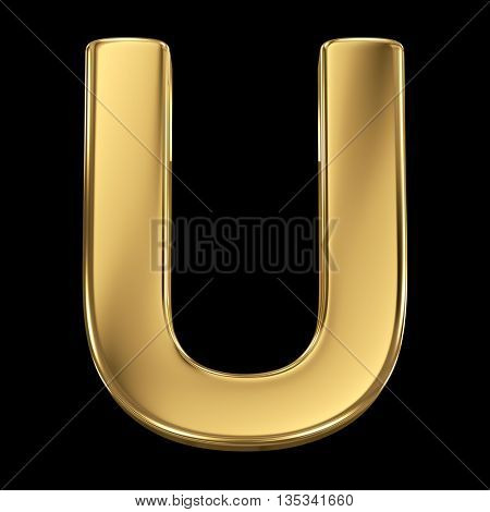 Golden shining metallic 3D symbol letter U - isolated on black