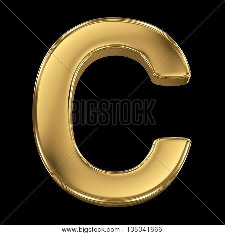 Golden shining metallic 3D symbol letter C - isolated on black