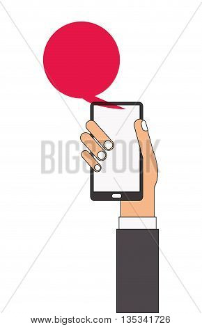 caucasian arm and hand holding cellphone with red chat bubble coming out of it vector illustration