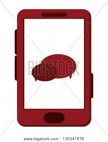 red cellphone with chat bubbles on screen vector illustration