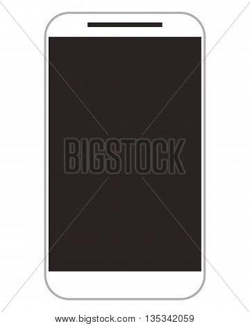 white modern cellphone with black screen vector illustration