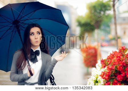 Curious Woman Holding  Umbrella Checking for Rain