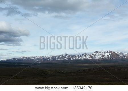 View of snowcapped mountains in Alaska's Denali National Park