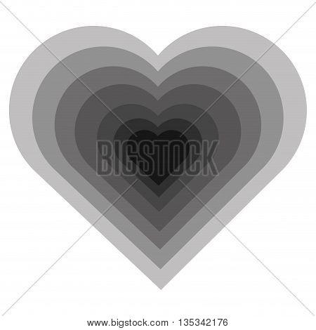 hearth shape icon design, gray on white background