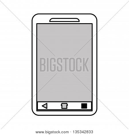 black cellphone with five buttons below the screen vector illustration