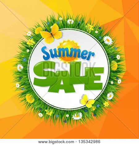 Summer Sale Poster With Sun