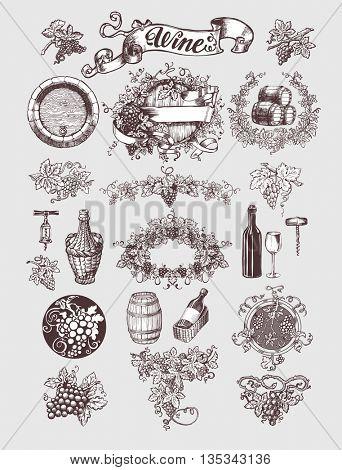 Wine and wine making vintage set. Wine template design. Vector illustration. Sketch style design.. Handdrawn grapes.