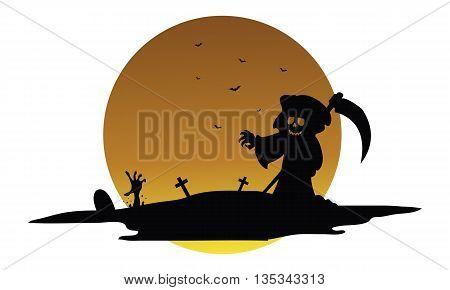 Scary warlock halloween silhouette vector art illustration