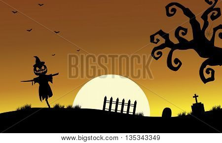 Halloweenn scarecrow silhouette in the tomb scenery