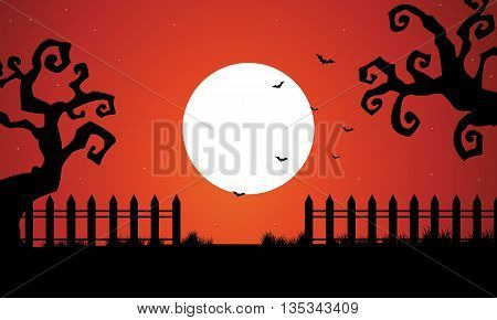 Halloween dry tree and full moon backgrounds illustration