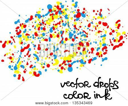 Vector drops color ink. Colored ink spots. Drops ink. Isolated vector object on white background.