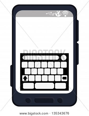 simple black line cellphone with three buttons in the bottom and three buttons to the side flat style design