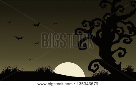 At Afternoon Halloween scenery bat and dry tree silhouette