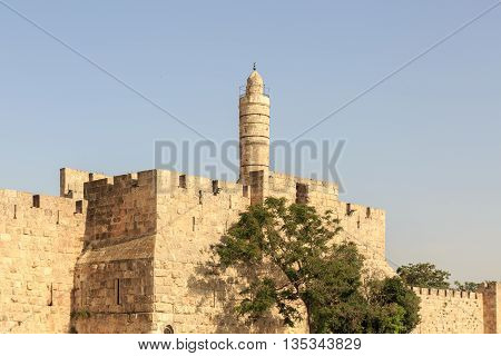 Wall Of Old City Of Jerusalem With King David Tower
