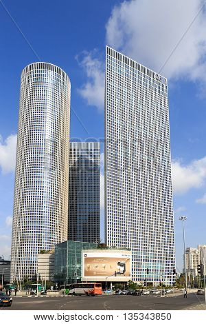 TEL-AVIV ISRAEL - JANUARY 22 2016: View on Azrieli Center in Tel Aviv view from western side