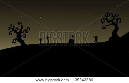 Halloween graveyards silhouette scary vector art illustration
