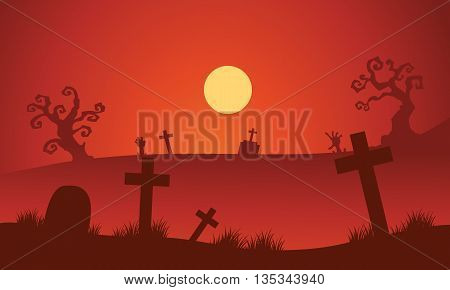 Red backgrounds Halloween tomb silhouette and moon