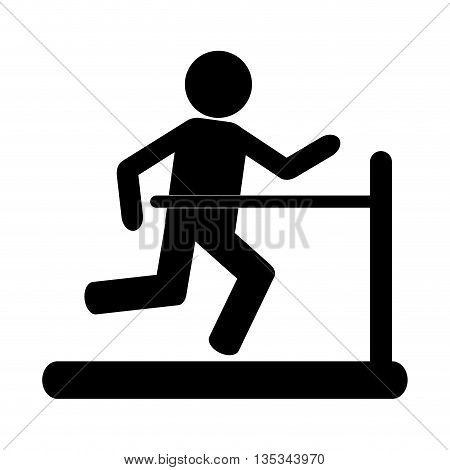 simple black silhouette of person running on the treadmill vector illustration