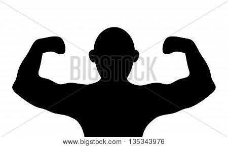 simple black silhouette of person flexing arms vector illustration